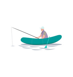 fisherman sitting on inflatable boat with fishing vector image