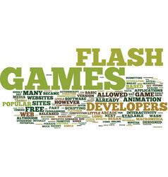 Flash games text background word cloud concept vector