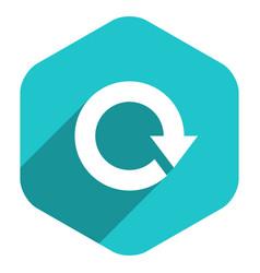 Flat arrow sign reload icon hexagon button vector