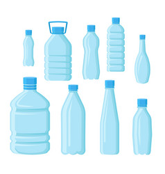 flat set of empty plastic bottles in vector image
