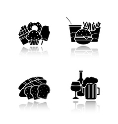 Food and drinks drop shadow icons set vector image