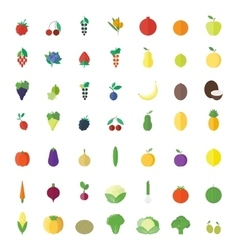 Fruits berries and vegetables flat elements vector