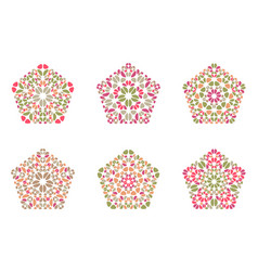 Geometrical abstract floral mosaic ornament vector