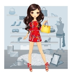 Girl In Red Dress Does Shopping vector