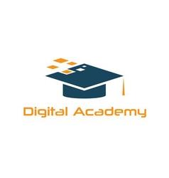 Graduation cap digital academy design template vector