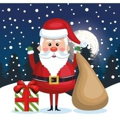 greeting merry christmas santa claus and bag gift vector image