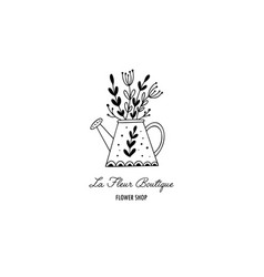 hand drawn flower shop logo in doodle style vector image
