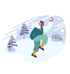 happy cheerful man playing snowballs on snowy vector image