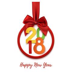 Happy new year 2018 round banner vector