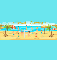 Happy people playing beach volleyball sunny day vector