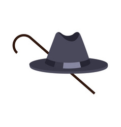 hat of black color with stick vector image