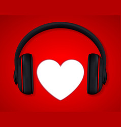 Headphones and heart concept for love listening vector