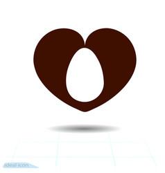 heart icon love symbol easter egg in black vector image