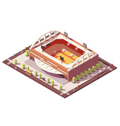 Isometric low poly basketball stadium vector