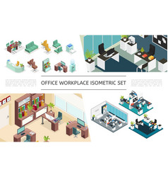 isometric office interiors collection vector image
