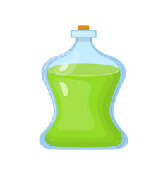 Magic potion in bottle with green liquid isolated vector