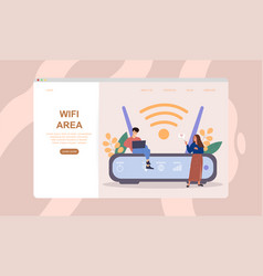 male and female characters are using wifi next vector image