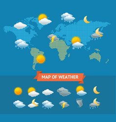Map of weather with icons set vector
