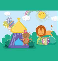 Monkey in the circus top and lion jumping in the vector