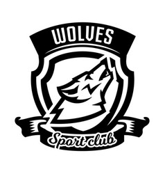 monochrome logo emblem howling wolf vector image