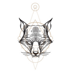 Muzzle fox for creating sketches of tattoos vector