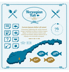 norway cooking fish map icon set vector image