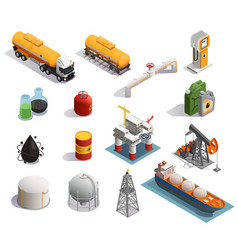 oil petroleum isometric icons vector image