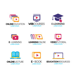 online education logotype set vector image