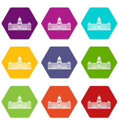 Palace of congress argentina icon set color vector