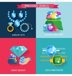 Precious Jewels Flat vector image