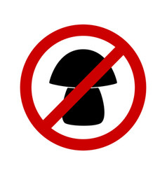 Prohibition sign for mushrooms on white vector