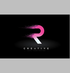 R letter logo with dispersion effect and purple vector