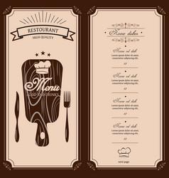 restaurant menu template menu brochure for vector image
