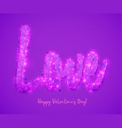 romantic purple happy valentines day calligraphy vector image