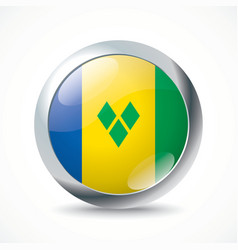 Saint Vincent and Grenadines flag button vector image