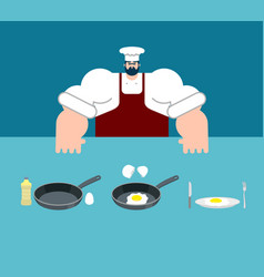 scrambled eggs cooking instruction chef vector image