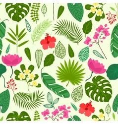 Seamless pattern with tropical plants leaves vector