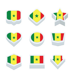 senegal flags icons and button set nine styles vector image