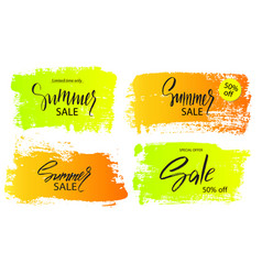 set of colorful summer sale banners frames boxes vector image