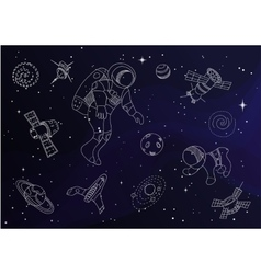 Set of line doodle space objects vector image