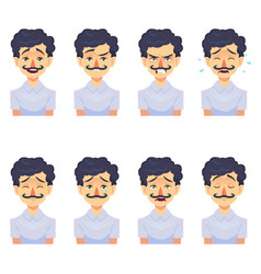 set of male facial emotions avatar hipster man vector image