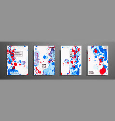 set of universal cards fluid art hand drawn vector image