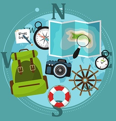Set travel accessories with backpack compass vector