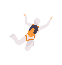 Skydiver in a suit flying in the sky skydiving vector