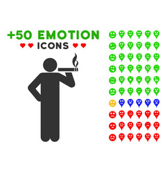 Smoking man icon with bonus smiley set vector