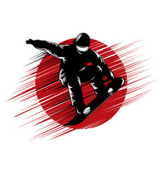 snowboarding stylized symbol silhouette vector image