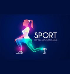 Sport and ads logo shining design fitness girl vector