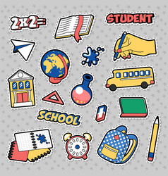 stickers education school theme with books vector image