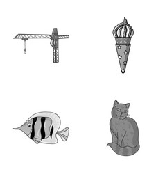 tail animal and other monochrome icon in cartoon vector image