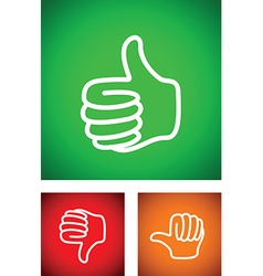 thumbs up set vector image vector image